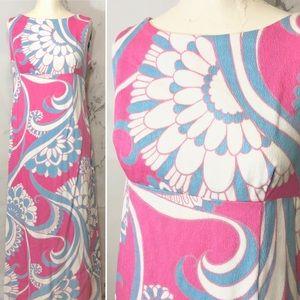 VTG 60's/70's Hawaiian Bark Cloth Tiki Maxi Dress